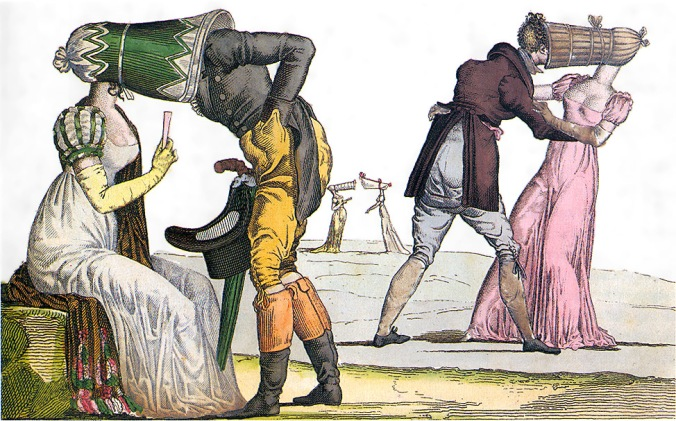 Invisibles-Tete-a-Tete-poke-bonnet-satire-1810s